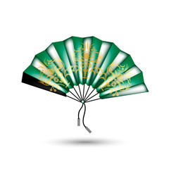 Chinese fan. Vector. Green.