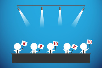five businessmen showing score cards, business concept