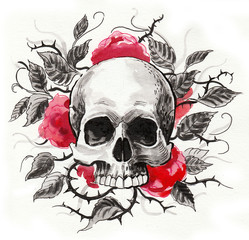 Skull and red flowers