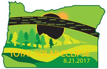 2017 Total Solar Eclipse Across Oregon Cities Map vector Illustration