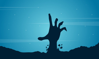 Halloween with hand zombie background