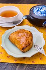 Sweet apple pie at tea time