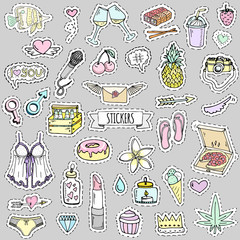 Fashion patch badges. Vector illustration Hand drawn isolated on light background. Set of stickers, pins, patches in cartoon 80s-90s pop-art comic style design Lingerie Beer Pizza Pineapple Heart Love