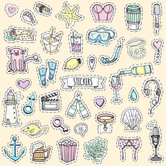 Fashion patch badges. Vector illustration Hand drawn isolated on light background. Set of stickers, pins, patches in cartoon 80s-90s pop-art comic style design Wine Beer Microphone Lingerie Sushi Love