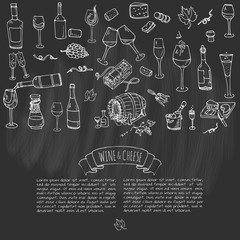 Hand drawn wine set icons Vector illustration Sketchy wine tasting elements collection Winery objects Cartoon symbols Vineyard background Vine Vineland Grape Glass Bottle Cheese Oak barrel Opener
