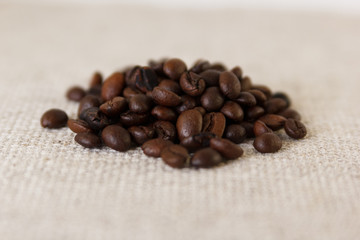 Grains of roasted coffee