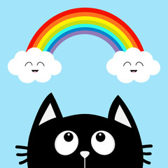 Black cat looking up to cloud and rainbow with smiling face. Cute cartoon character. Valentines Day. Kawaii animal. Love Greeting card. Flat design. Blue background. Isolated.