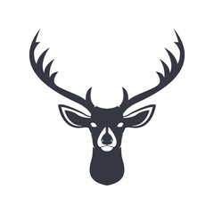 Deer head dark blue silhouette. Vector illustration.