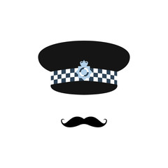 London police officer on white background. Avatar for app. Vector illustration.