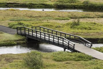 Long Narrow Walking Bridge in Iceland