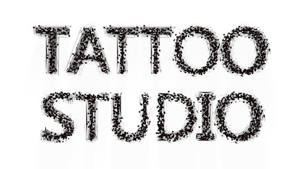 Tattoo salon text on white background