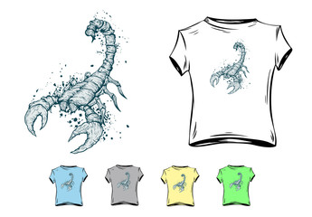 Scorpion on spot background with option of drawing on clothes