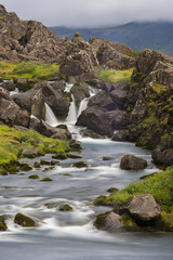 Waterfall Long Exposure iwth grass and rocks