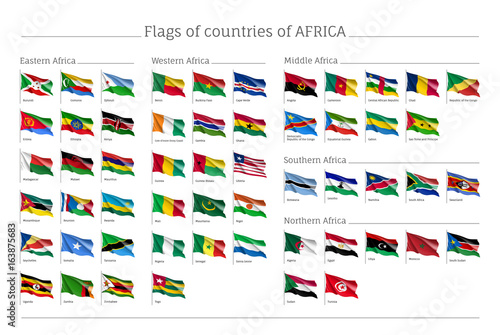 Africa flags big set. Travel agency or classroom geography poster ...