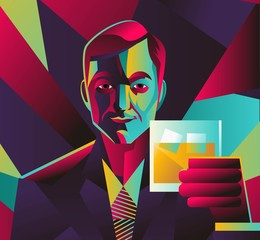 colorful abstract man drinking whiskey