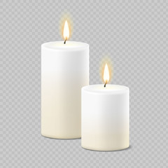Set of realistic vector white candles with fire on transparent background. Cylindrical aromatic candle sticks with burning flames