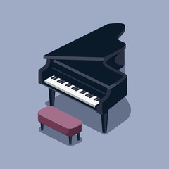 Black grand piano isometric vector illustration