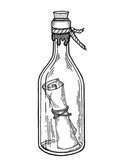 Message in bottle engraving vector illustration