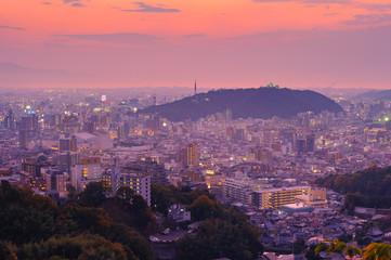 松山城夜景風景
