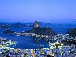 Sugar Loaf Mountain in Rio de Janeiro at night, Brazil