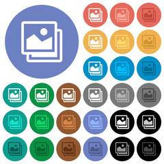 Pictures round flat multi colored icons