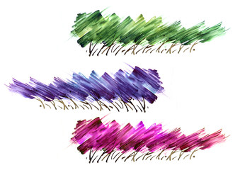 A set of abstract bushes, trees. Watercolor line of Green, purple, pink paint, splash, smear, blot, zigzag. abstraction. Strokes of paint, zigzag, lines, splash.