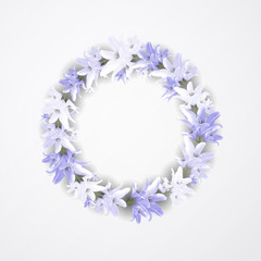 Beautiful blue wreath with lilia. Floral design for wedding, invitation and greeting cards.