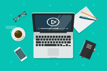 Video on laptop vector illustration, flat cartoon computer screen with online webinar concept top view, idea of tutorial watching, e-learning,