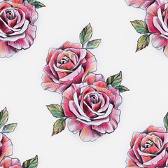 Seamless pattern of a branch of red roses on a white background.