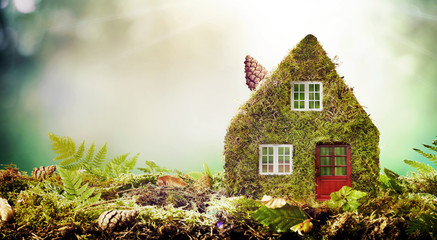 Eco friendly house concept with moss covered model