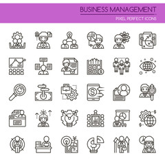 Business Management Elements , Thin Line and Pixel Perfect Icons.