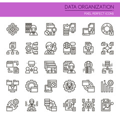 Data Organization Elements , Thin Line and Pixel Perfect Icons.