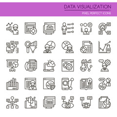 Data Visualization Elements , Thin Line and Pixel Perfect Icons.