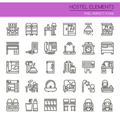 Hostel Elements , Thin Line and Pixel Perfect Icons.