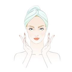 Beautiful girl during beauty ritual, apply cream. Vector hand drawn illustration.