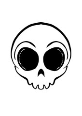 Iconic round skull in black and white. Vector illustration