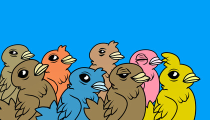 A crowd of cartoon birds. Digital Illustration