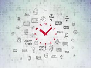Time concept: Clock on Digital Data Paper background