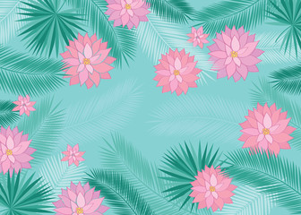 Summer background with tropical leaves and pink flowers. Floral elements for your design. Vector illustration.