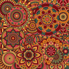 pattern with mandalas. Vintage decorative elements. Hand drawn background. Islam, Arabic, Indian, ottoman motifs.