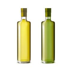 Realistic Detailed Olive Oil Glass Bottle Set. Vector