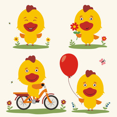 Vector set funny chicken play on meadow. Collection isolated chicken on bicycle, with balloon and flower in cartoon style.