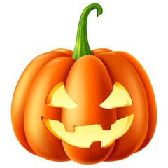 Halloween pumpkin with a carved out scary smiling face. Vector illustration.