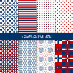 Set of eight simple seamless patterns. Red, blue and white colors.