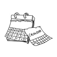 Calendar for planning freehand drawing illustration on white background