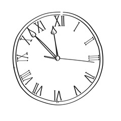 Clock time for planning freehand drawing illustration