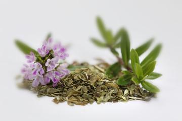 Thymian Zweige geschnitten, getrocknet und Blüten vor hellem Hintergrund (Thymus)