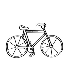 Bicycle illustration on a white background.Black and white color line art
