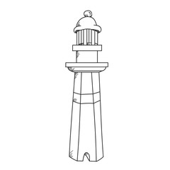 Lighthouse illustration on a white background.Black and white color line art