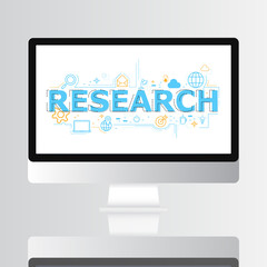 Research icon on screen infographic design